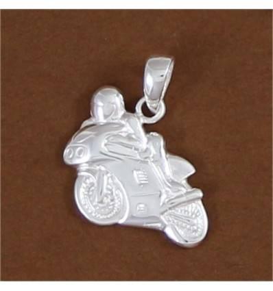pendentif moto sportive avec motard