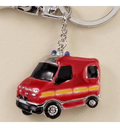 porte-clefs camion de pompier rouge