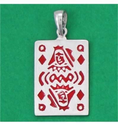 pendentif carte dame de carreau