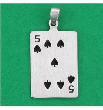 4854p5 pendentif carte 5 de pique