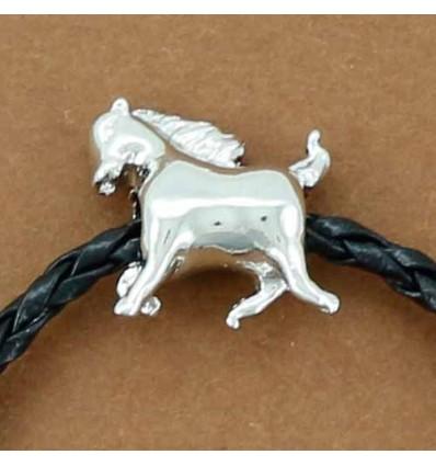bracelet cuir tressé et perle cheval