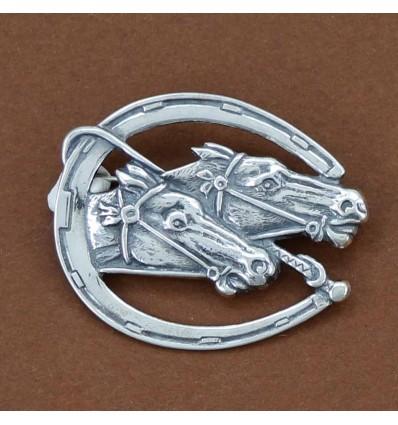 broche chevaux stylisés argent massif